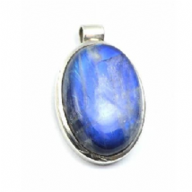 Large Oval Rainbow Moonstone Pendant Silver 'One-Off'